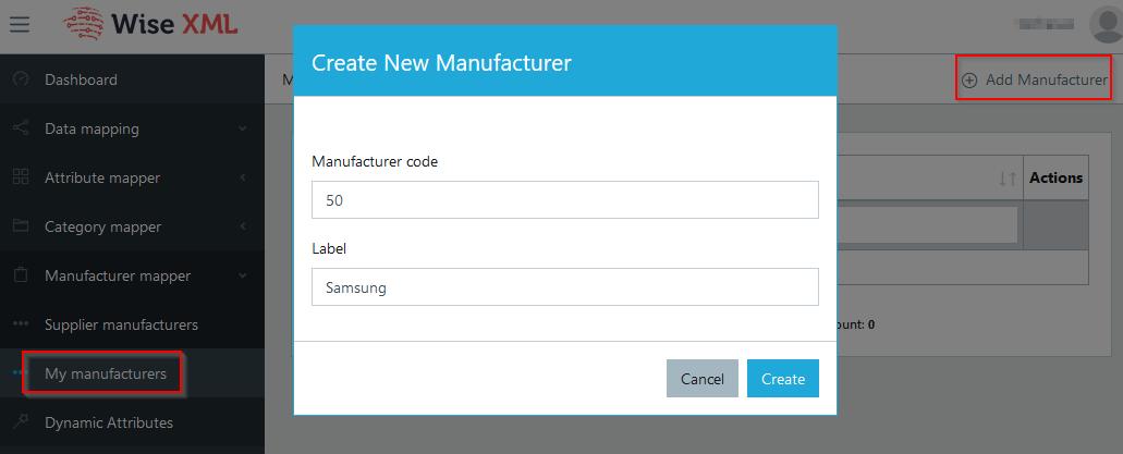 Add Manufacturer