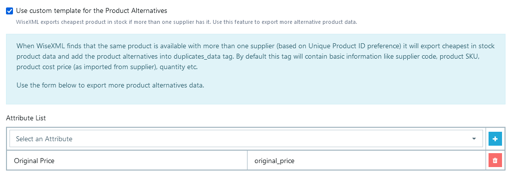 Product Alternatives template